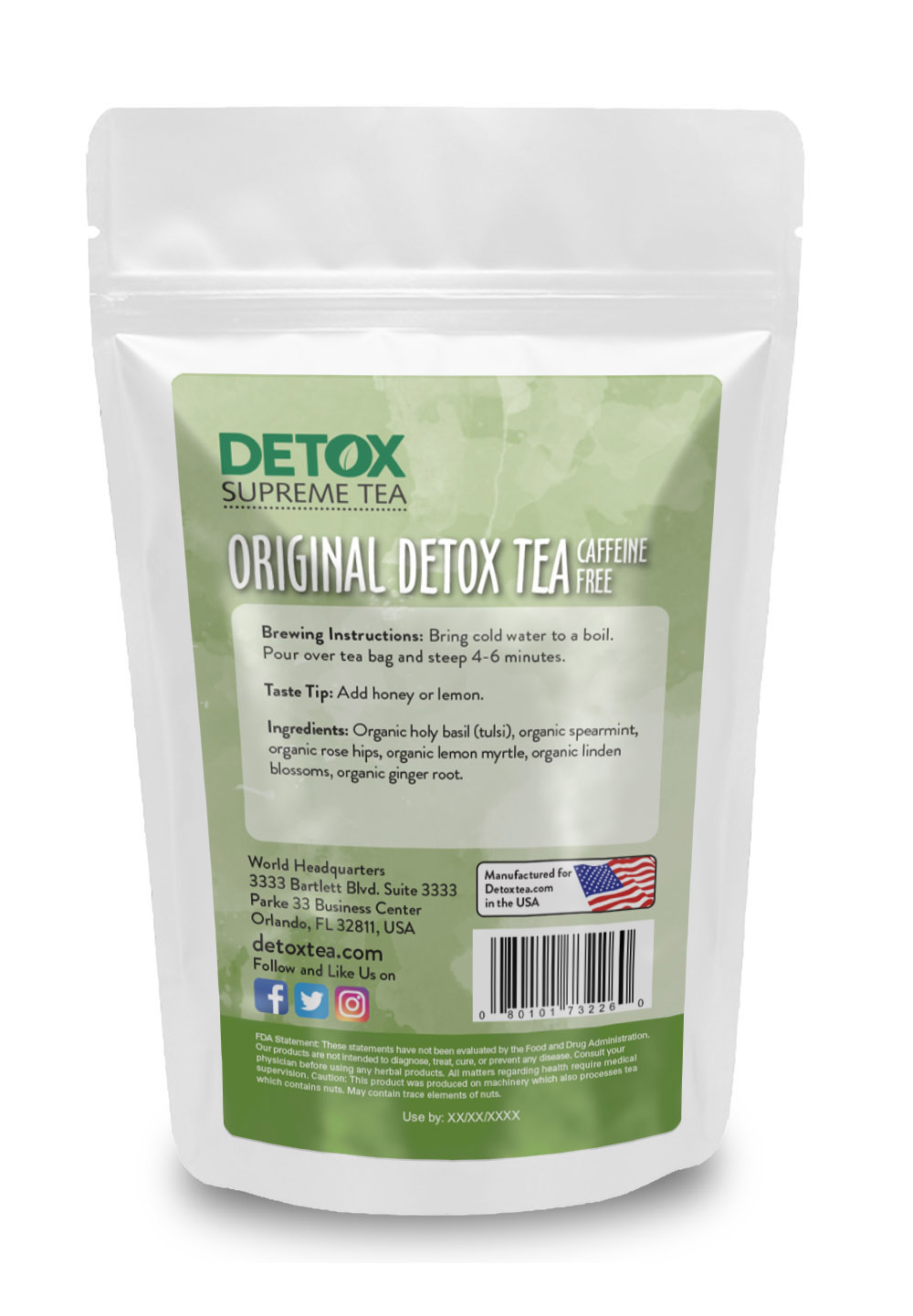 14 Day Detox Tea Caffeine Free Back