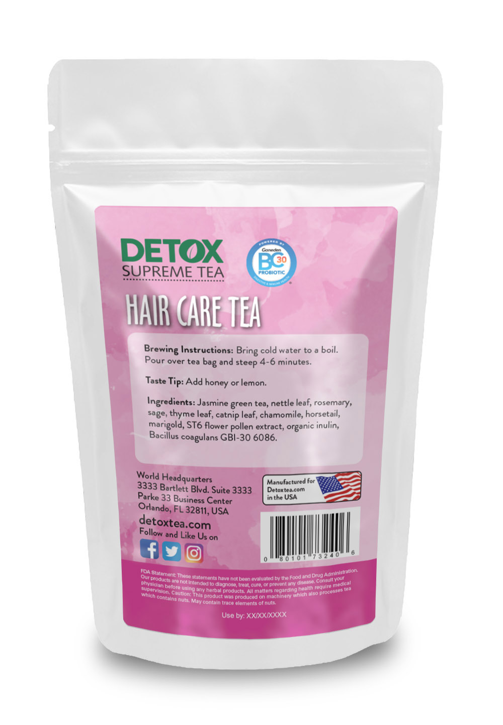 14 Day Hair Care Tea with Probiotics Back