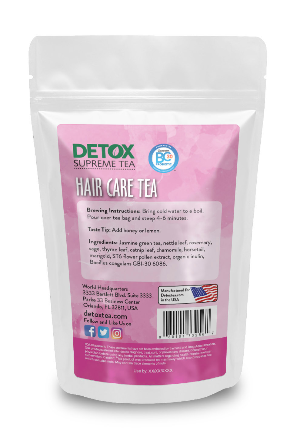 28 Day Hair Care Tea with Probiotics Back