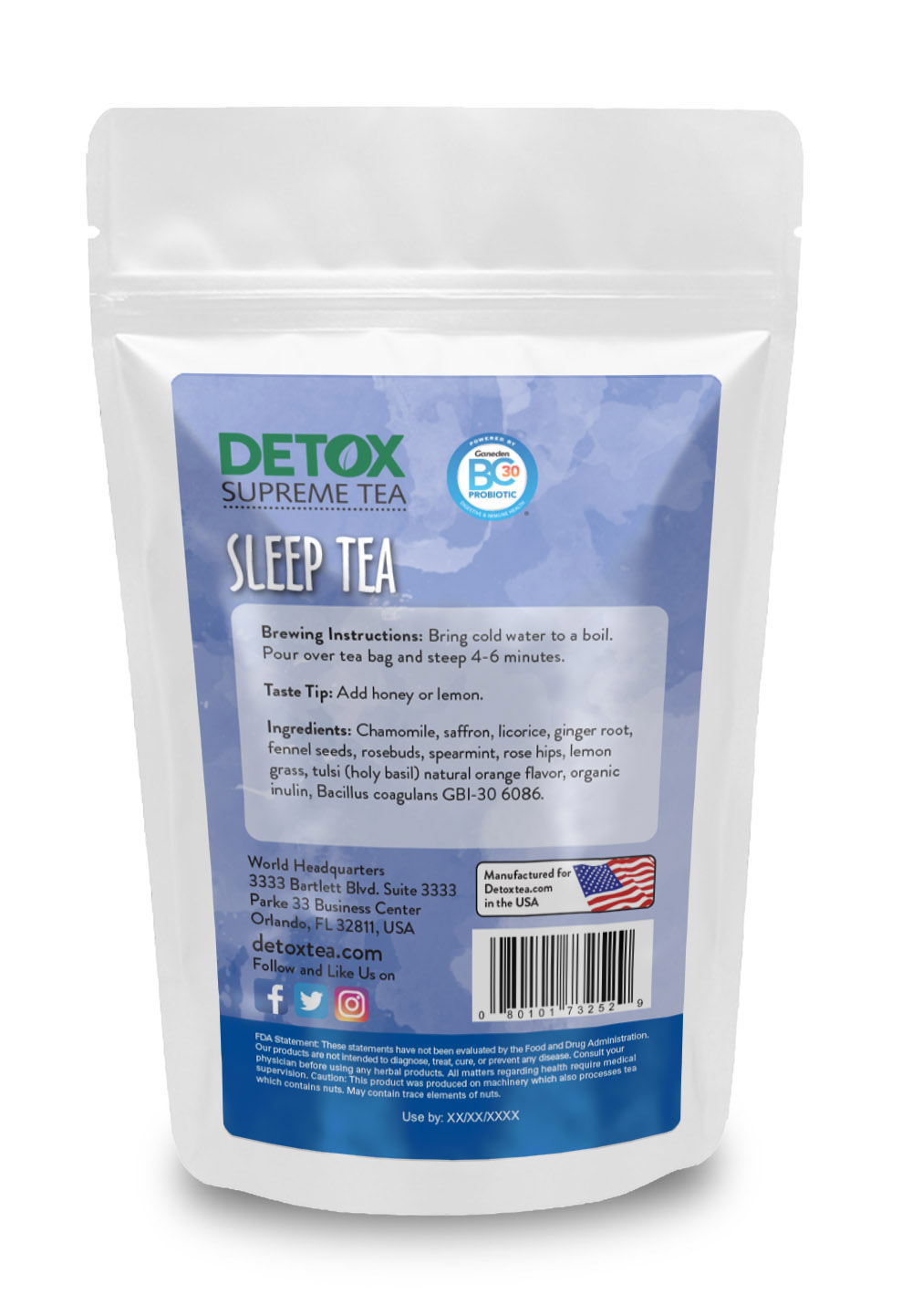 28 Day Sleep Tea With Probotics Back